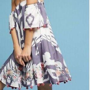 Anthropologie Ikat Off the Shoulder Dress XL